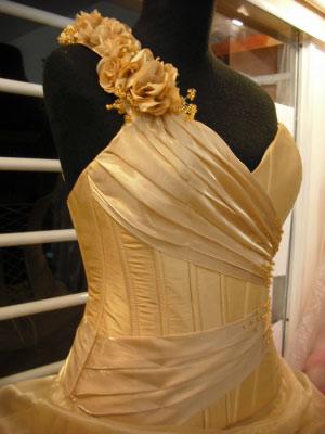 Vestido Dorado-Vestido de Fiesta